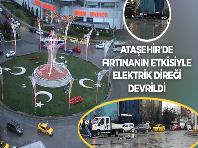 Atatürk Mahallesi'nde Fırtınanın Etkisiyle Elektrik Direği Devrildi