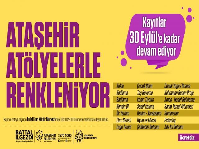 Erdal Eren Kültür Merkezi'nde 21 Farklı Atölye Ataşehirlileri Bekliyor