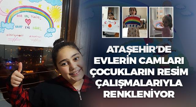 Ataşehir'de evlerin camları çocuk resim çalışmaları ile renkleniyor