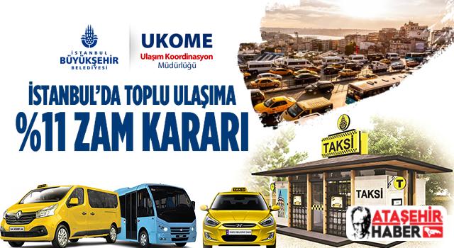 İstanbul'daki taksi, minibüs ve dolmuş ücretlerine zam!
