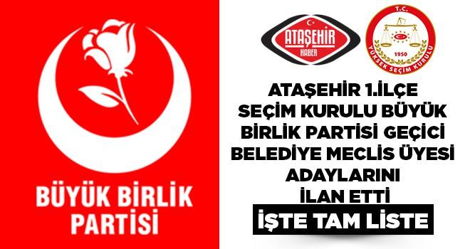 BBP, Ataşehir Belediye Meclis Üyeleri Geçici Listesi Belli Oldu