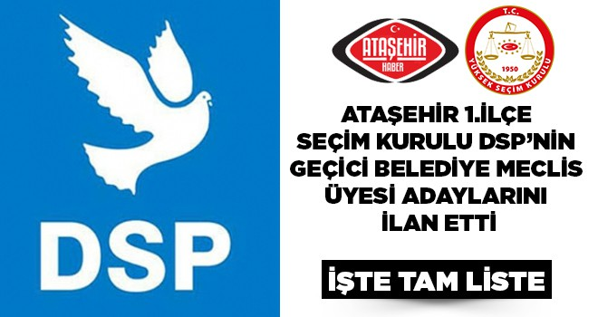 DSP, Ataşehir Belediye Meclis Üyeleri Geçici Listesi Belli Oldu