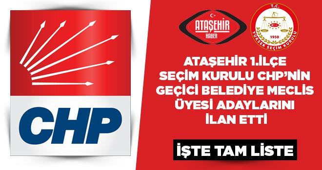 CHP Ataşehir Belediye Meclis Üyeleri Geçici Listesi Belli Oldu