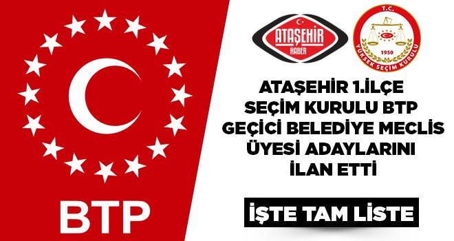 BTP, Ataşehir Belediye Meclis Üyeleri Geçici Listesi Belli Oldu