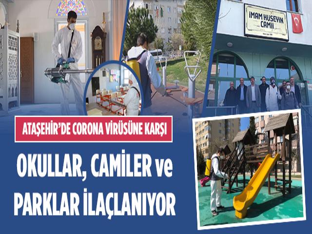 Ataşehir Belediyesi corona virüsüne karşı camii, okul ve parkları ilaçlıyor